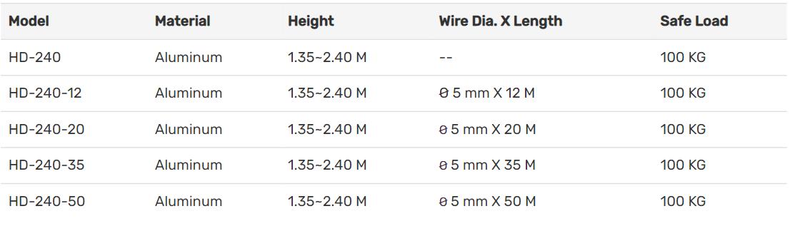 thông số kỹ thuật của giá cứu hộ 3 chân HD- 240 series của Haru