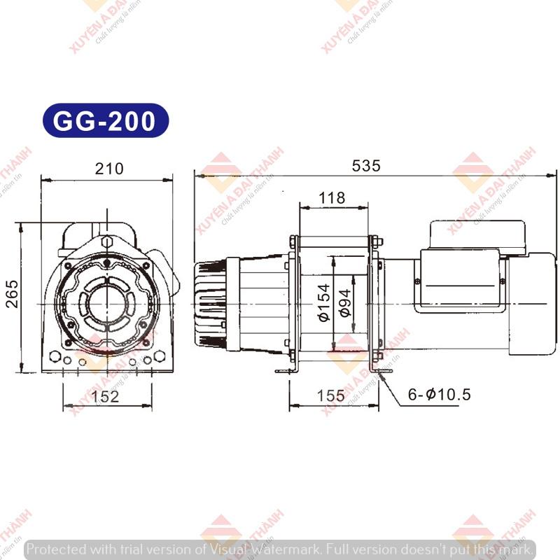 Bản vẽ tời điện Kio Winch - Đài Loan GG-200
