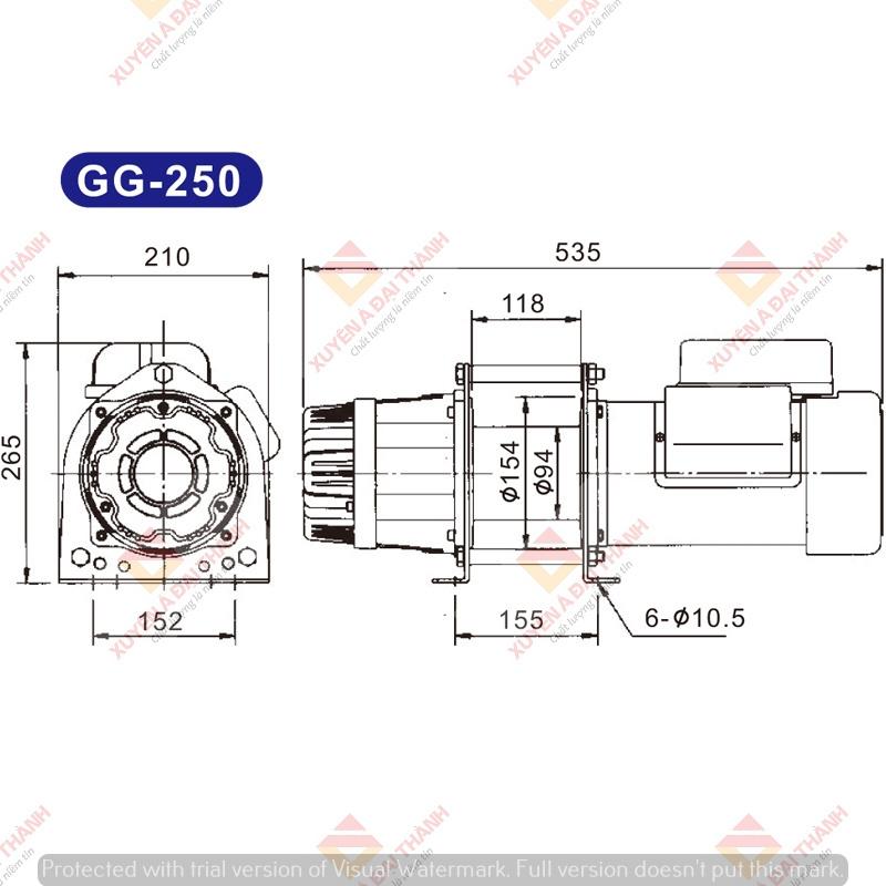 Bản vẽ tời điện Kio Winch – Đài Loan GG-250