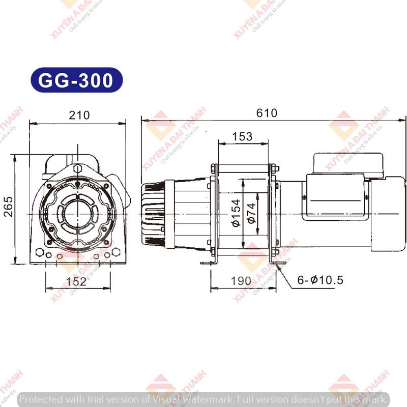 Bản vẽ tời điện Kio Winch GG-300