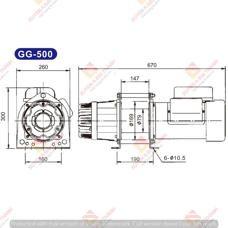 Bản vẽ Tời điện Kio Winch - Đài Loan Model: GG-500